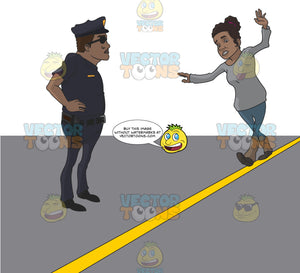 African American Woman Trying To Walk In A Straight Line While A Police Officer Watches
