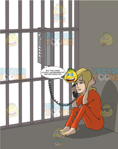 Worried Looking Blonde Woman Sitting In A Jail Cell Talking On A Pay Phone