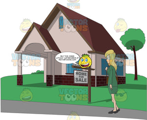 Blonde Woman Standing Outside A House Staring At A Foreclosure Sign