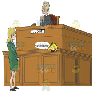 Ashamed Looking Caucasian Woman Standing In Front Of A Judge In Court