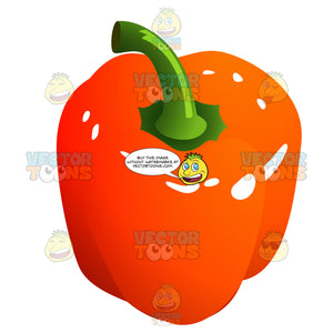 Bright Reddish-Orange Bell Pepper