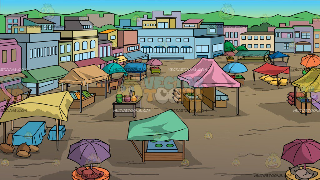 View Of An Outdoor Rural Market Background