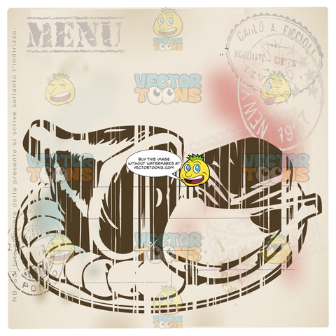 Distressed Sepia Vintage Food Label Showing Ham Hock And Sliced Meats On Plate With Word Menu Stamped In Corner