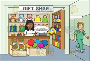 A Black Woman Volunteer In A Hospital Gift Shop For Charity