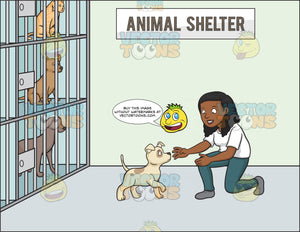 A Black Woman Volunteer In An Animal Shelter