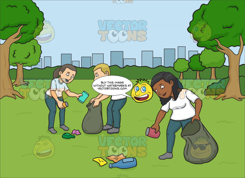 A Black Woman Volunteer Cleaning The Park