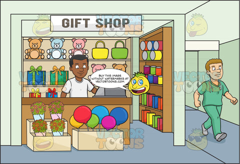 A Black Male Volunteer In A Hospital Gift Shop For Charity
