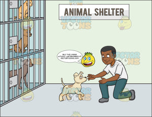 A Black Male Volunteer In An Animal Shelter