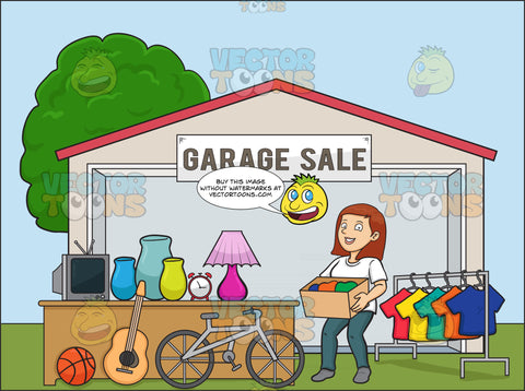 A Female Volunteer Having A Garage Sale