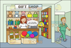 A Female Volunteer In A Hospital Gift Shop For Charity