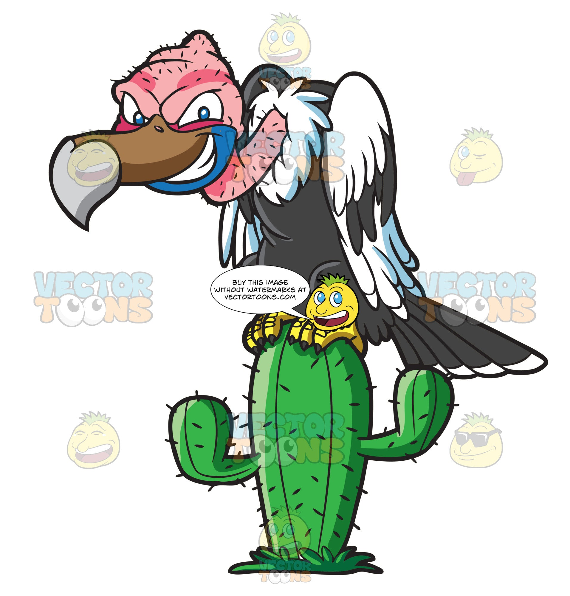 A Vulture On Top Of A Cactus