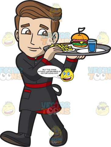 A Waiter Carrying A Tray Of Food