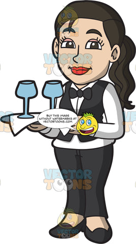 A Waitress Carrying A Tray Of Wine Glasses