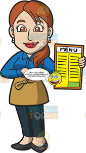 A Waitress Showing The Menu
