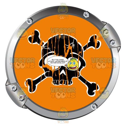 Black Skull And Crossbones On Orange Within Metal Circle Warning Symbol