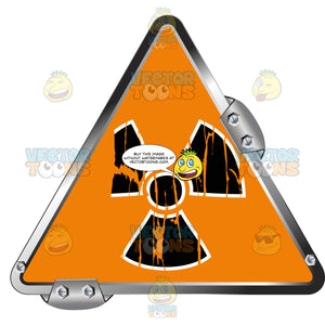 Black Radiation Symbol On Orange In Grey Metal Triangle