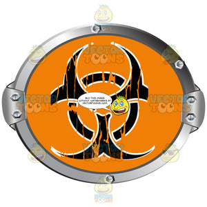 Black Biohazard Symbol On Orange Background Inside Grey Metal Circle