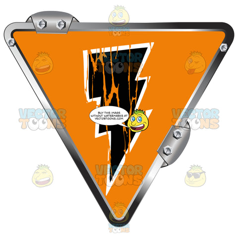 Black Lightning Bolt On Orange Inside Upside Down Grey Metal Triangle