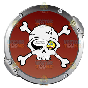 White Skull And Crossbones On Red Within Metal Circle Warning Symbol