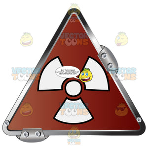 White Radiation Symbol On Red In Grey Metal Triangle