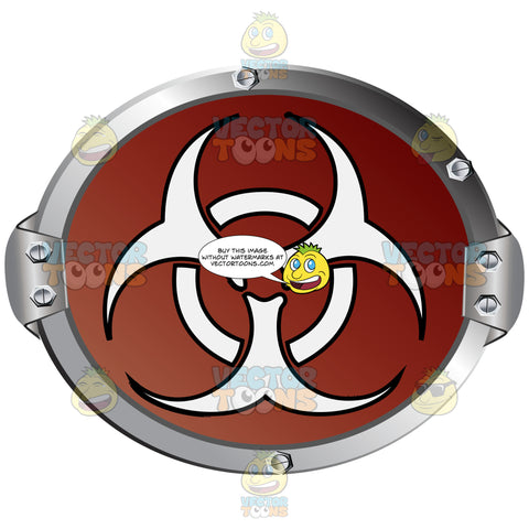 White Biohazard Symbol On Red Background Inside Grey Metal Circle