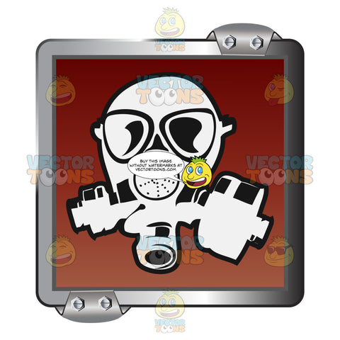 White Gas Mask On Red Inside Grey Metal Square