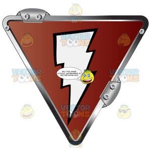 White Lightning Bolt On Red Inside Upside Down Gold Metal Triangle