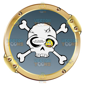 White Skull And Crossbones On Blue Within Gold Metal Circle Warning Symbol