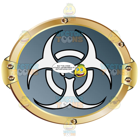 White Biohazard Symbol On Grey Background Inside Gold Metal Circle
