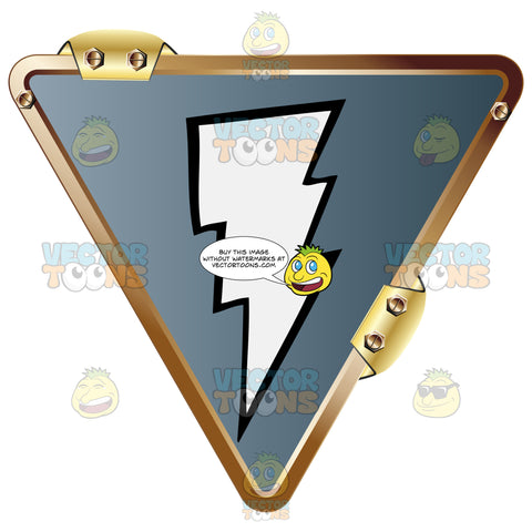 White Lightning Bolt On Grey Inside Upside Down Gold Metal Triangle