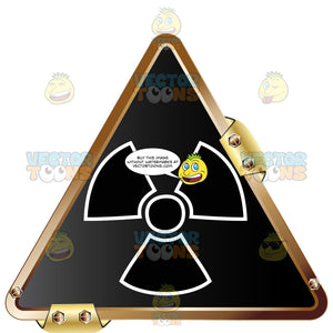 Black Radiation Symbol With White Outline On Black Grey In Gold Metal Triangle