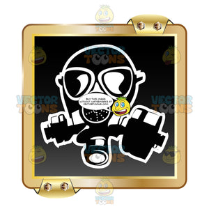 Black Gas Mask With White Outline On Black Inside Gold Metal Square