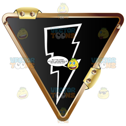 Black Lightning Bolt With White Outline On Black Inside Upside Down Gold Metal Triangle