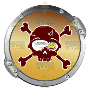 Red Skull And Crossbones With White Outline On Gold Within Grey Metal Circle Warning Symbol
