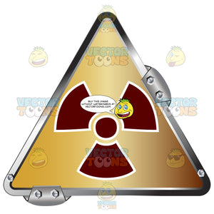 Red Radiation Symbol On Gold In Grey Metal Triangle