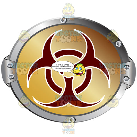 Red Biohazard Symbol On Gold Background Inside Metal Circle