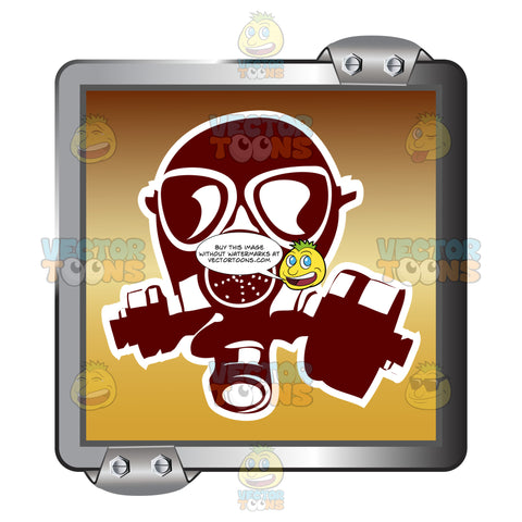 Red Gas Mask With White Outline On Gold Inside Grey Metal Square