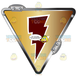 Red Lightning Bolt On Gold Inside Upside Down Grey Metal Triangle