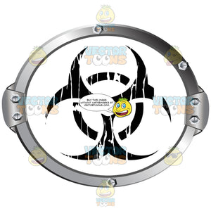 Black Biohazard Symbol On White Background Inside Metal Circle