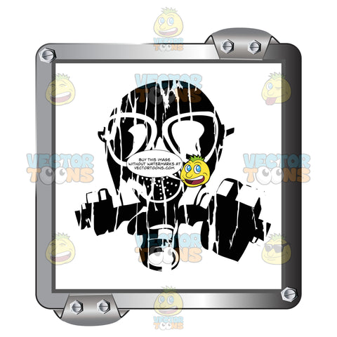 Black Gas Mask On White Inside Grey Metal Square