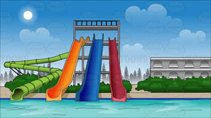 Water Park Slides Background