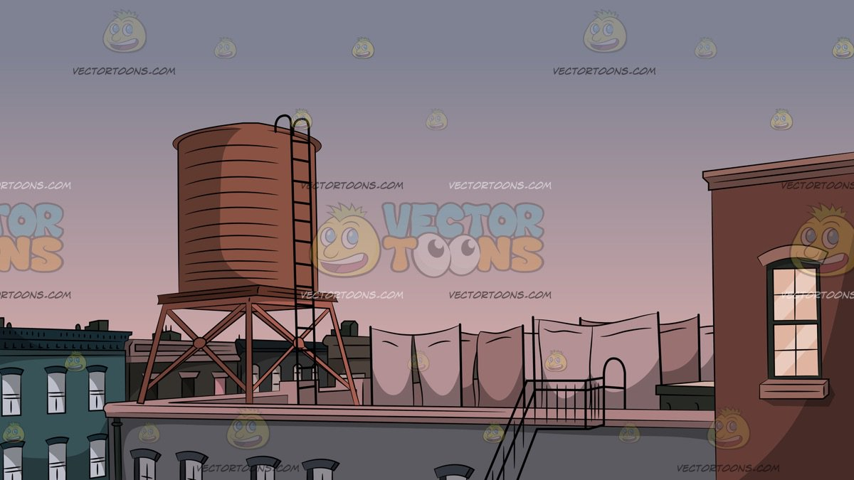 Water Tower On Roof Background