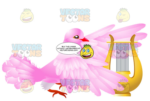 Pink Dove Playing A Harp
