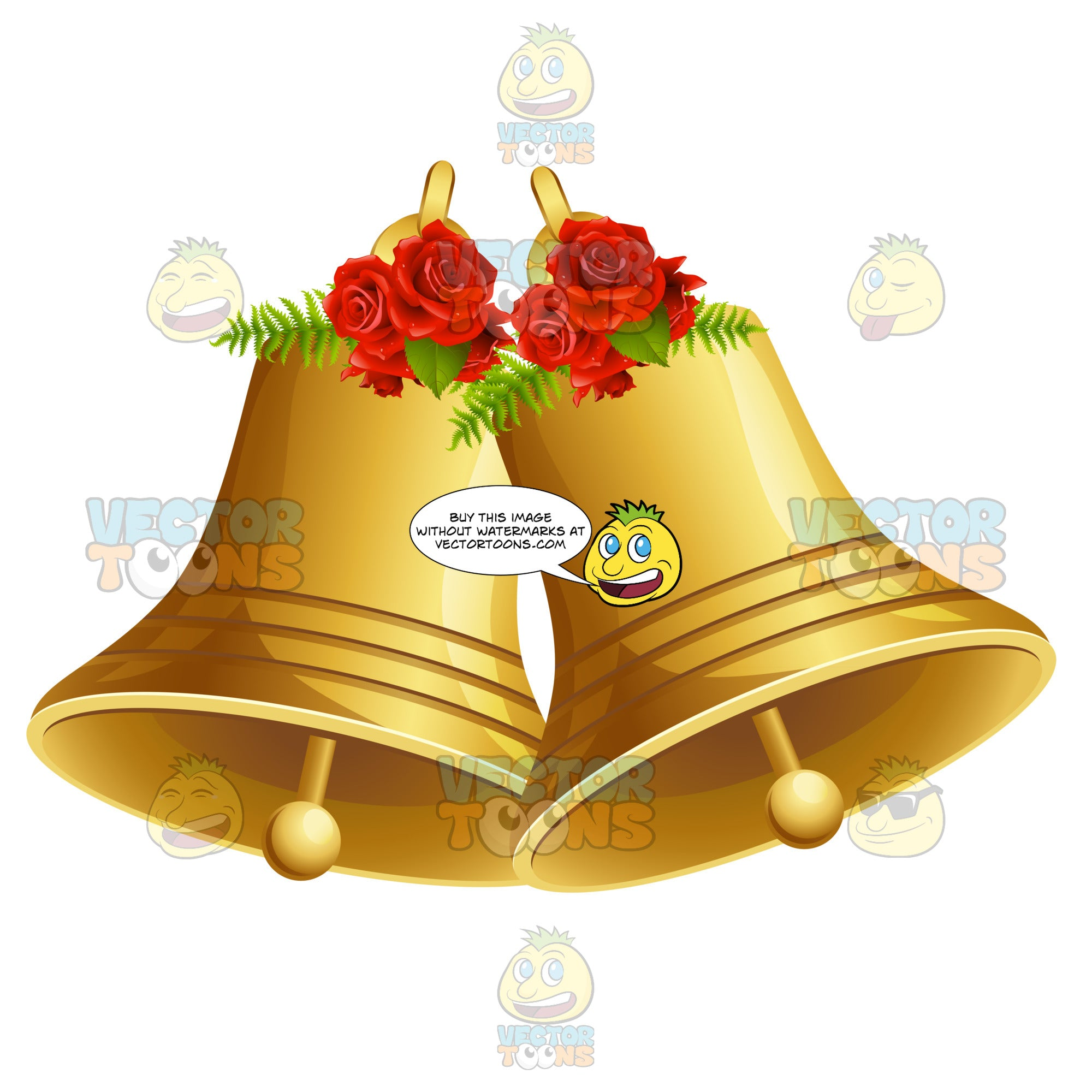 Two Gold Bells With Roses