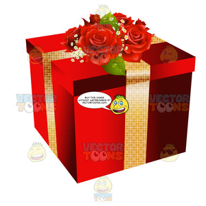 Present Wrapped With Red Paper Gold Ribbon And Topped With Roses