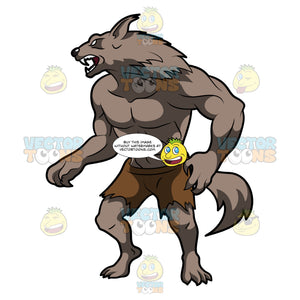 A Werewolf Wearing A Pair Of Torn Shorts
