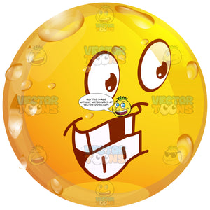 Grinning Wet Yellow Smiley Face Emoticon With Missing Teeth Looking Right