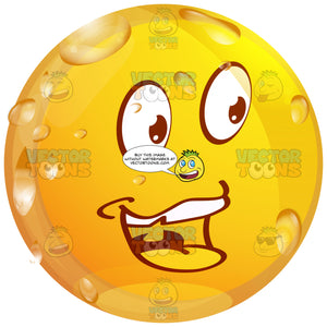 Happy, Upbeat Wet Yellow Smiley, Open Mouth With Tongue Exposed