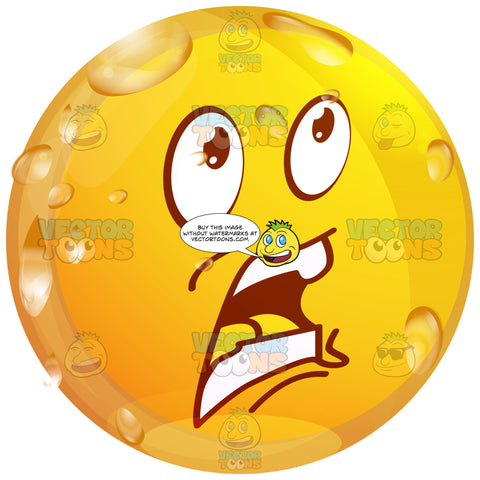 Surprised Open Mouthed Wet Yellow Smiley Face Emoticon Looking Up