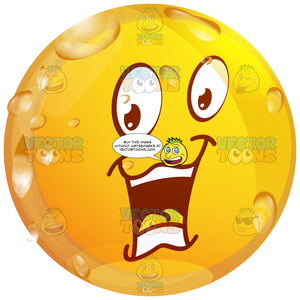 Chatty Wet Yellow Smiley Face Emoticon With Open Mouth, Tongue, Raised Eyebrows